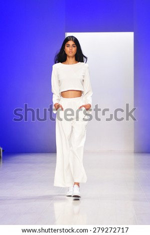 SYDNEY AUSTRALIA - 16 APRIL 2015: Backstage clothes collection fashion show runway presented by 3Up at Mercedes Benz Fashion Week at Carriageworks.