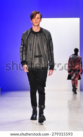 SYDNEY AUSTRALIA - 16 APRIL 2015: Injury clothes collection fashion show runway presented by the Innovators Fashion Design Studio at Mercedes Benz Fashion Week at Carriageworks.