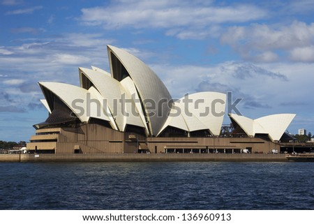 SYDNEY, AUSTRALIA - APRIL 7: Sydney Opera House on 7th April 2013. A $110 million dollar project is underway to construct an underground loading facility.
