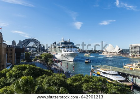 SYDNEY, AUSTRALIA, April 20, 2017: View of Circular Quay with docked cruise ship Celebrity Solstice and Harbour Bridge.