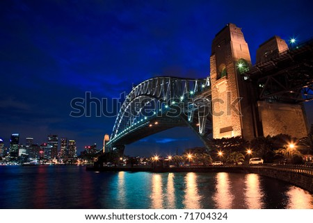 Sydney Australia CBD at Harbour bridge and city twilight time illuminated landmarks