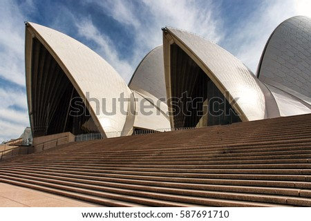 Sydney, Australia. Circa May 2005. Close up of shell roof on landmark Sydney Opera House