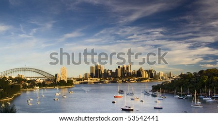 Sydney Australia city and bridge bay yacht panoramic sunset warm colorful view