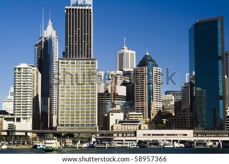 sydney australia city CBD close up crop front view circular quay summer sunny day blue sky skyscrapers towers office buildings - stock photo