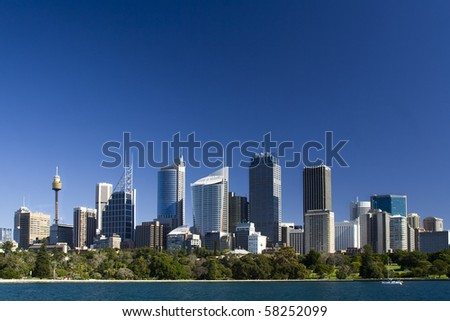 sydney australia city central business district view from royal botanic garden over bay blue skyline