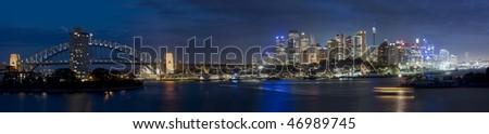 Sydney australia city central part panorama night scene illuminated cityscape famous landmark