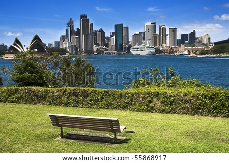 Sydney australia city panorama view from milsons point park bright summer day green plants and blue sky