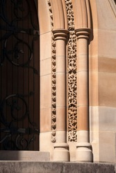 Sydney Australia, detailed sandstone carving on doorway of a church