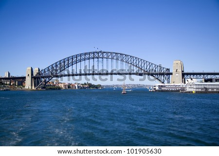 Sydney, Australia Harbour bridge full side view panoramic iconic image blue water and sky connection of cities