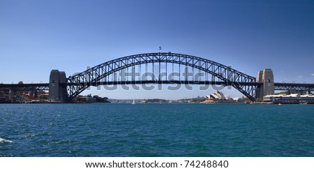 sydney australia Harbour bridge full side view panoramic iconic image blue water and sky connection of cities