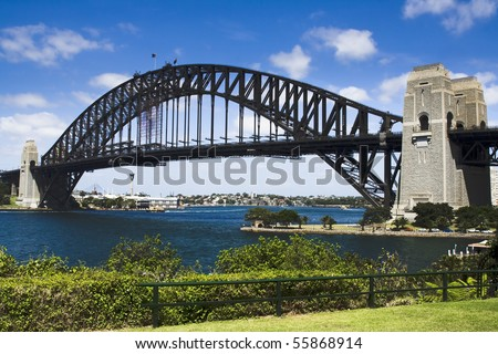 Sydney australia harbour bridge view from milsons point park bright summer day green plants and blue sky