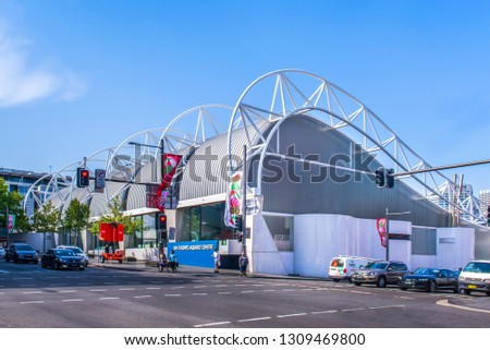 SYDNEY, AUSTRALIA -  JANUARY 16, 2019: External view of the Ian Thorpe Aquatic Centre. This is a fitness centre in Ultimo, New South Wales, a suburb of Sydney, Australia.  #1309469800
