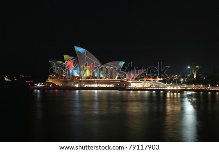 SYDNEY, AUSTRALIA - JUNE 7: Sydney Opera House lit up for the Vivid Sydney Festival, biggest international music and light festival in the southern hemisphere, June 7, 2011 in Sydney.