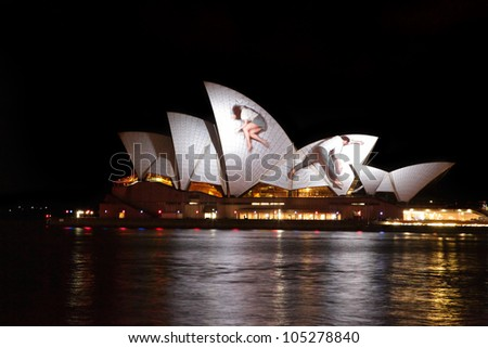 SYDNEY, AUSTRALIA - JUNE 11, 2012:  The Sydney Opera House becomes illuminated with spectacular motion picture art  during the annual Vivid Sydney Festival on June 11, 2012