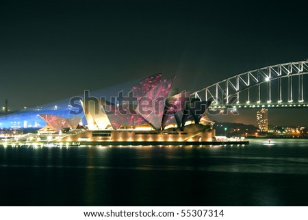 SYDNEY, AUSTRALIA - JUNE 14: Vivid Sydney Festival featuring the spectacular illumination of the Sydney Opera House sails, 14 June, 2010