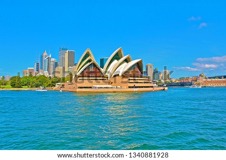 Sydney, Australia - Match 17, 2019: Sydney Opera House,  multi-venue performing arts centre at Sydney Harbour in Sydney. It is one of the 20th century's most famous and distinctive buildings #1340881928