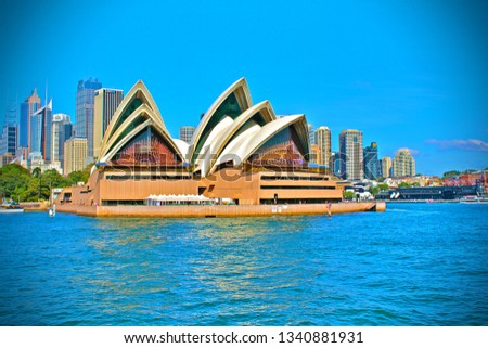 Sydney, Australia - Match 17, 2019: Sydney Opera House,  multi-venue performing arts centre at Sydney Harbour in Sydney. It is one of the 20th century's most famous and distinctive buildings #1340881931