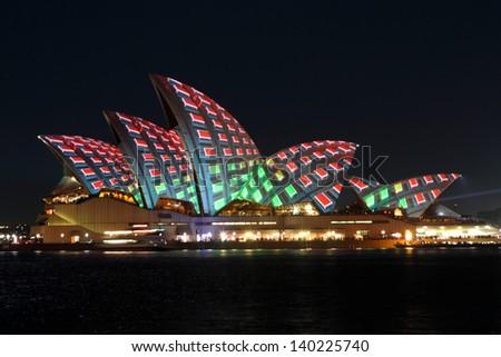 SYDNEY, AUSTRALIA - MAY 25: Sydney Opera House shown during Vivid Sydney: A Festival of Light, Music & Ideas on May 25, 2013 in Sydney, Australia.