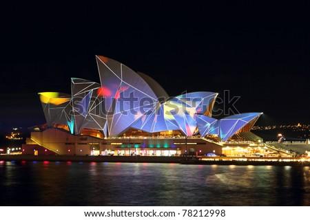 SYDNEY, AUSTRALIA - MAY 27: Sydney Opera House shown during Vivid Sydney: A Festival of Light, Music & Ideas on May 27, 2011 in Sydney, Australia.