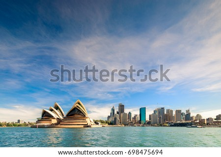 Sydney, Australia - November 9, 2015: Sydney city skyline with The Opera House on a day. View from the ferry #698475694