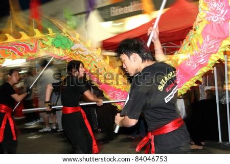 SYDNEY, AUSTRALIA - SEPTEMBER 4 : Lion Dancer perform at the Cabramatta Moon Festival on September 4, 2011 in Sydney, Australia. Cabramatta Moon Festival is an annual festival in Cabramatta suburb.
