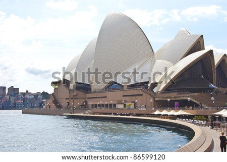 SYDNEY, AUSTRALIA - SEPTEMBER 1:Sydney Opera House - view from the front, on the 1st of September 2011. Opera will celebrate its 40th anniversary in 2013.