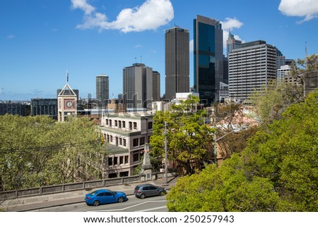 Sydney, Australia - September 21: View of the CBD skyline in Sydney, Australia on September 21, 2014. #250257943