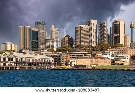 Sydney - Australia view from ferry, City and Skyscrapers