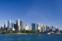Sydney Australia view from ferry to royal botanic garden, City CBD and Opera house