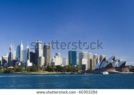 Sydney Australia view from ferry to royal botanic garden, City CBD and Opera house