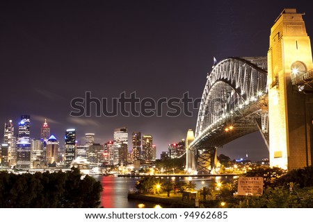 Sydney Bridge and the harbor view