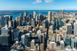 Sydney city aerial view. Sydney CBD, Central Business District from above. Sydney downtown top view