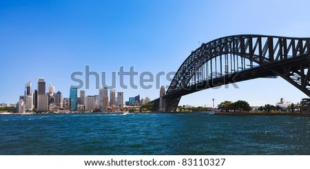 Sydney city CBD cityscape day view from milsons point across harbour with bridge blue water and sky