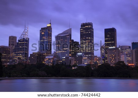 Sydney city CBD skyscrapers cityscape twilight panoramic close-up image