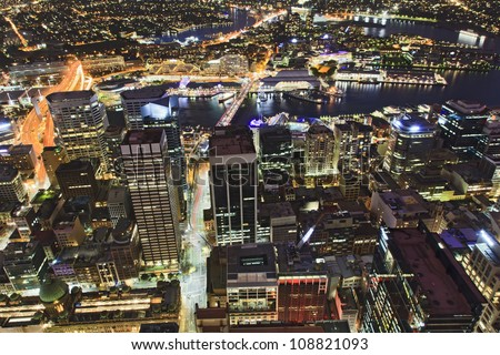 Sydney city CBD sunset view from sydney tower ocean of lights streets and buildings with illumination