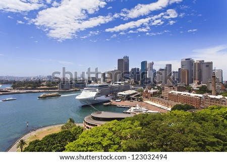 sydney city CBD view from bridge green park of the rocks and circular quay boats sunny summer day