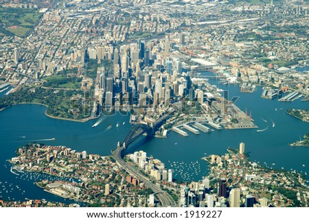 sydney city center aerial view