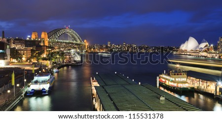 sydney city circular quay sunset lights and illumination blue cloudy dusk