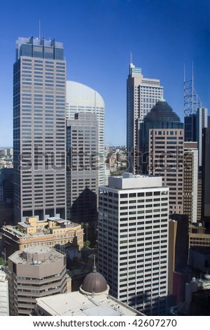 Sydney city downtown skyscrapers close up look out inside metropolis