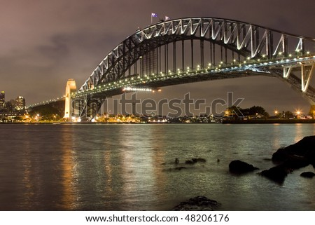 Sydney city Harbour bridge Bow night view along night scene australia landmark