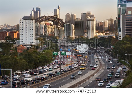 sydney city highway full of cars traffic jam rush hour toll street motor road commuter delays