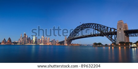 Sydney city landmark places panoramic view at sunrise: CBD, harbour bridge, skyscrapers, houses