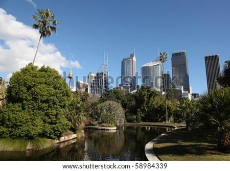 Sydney City Skyline view from the botanic gardens. Sydney is Australia's largest city and a popular tourist destination.