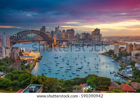 Sydney. Cityscape image of Sydney, Australia with Harbour Bridge and Sydney skyline during sunset. #590390942