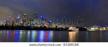 Sydney cityscape twilight dark light conditions panorama over harbour CBD, skyscrapers, towers, Australia landmarks