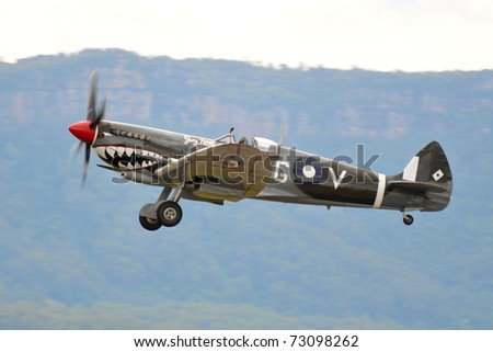 SYDNEY - FEB 27: Spitfire fighter aircraft participates in the Wings over Illawarra airshow event February 27, 2011 near Sydney, Australia. - stock photo