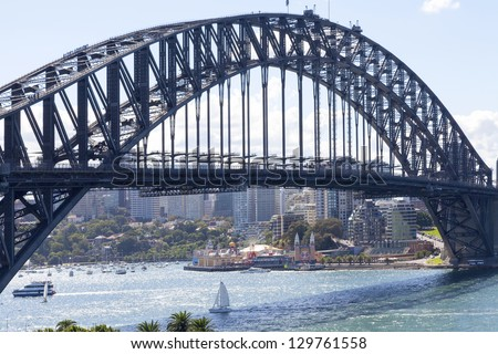 SYDNEY - FEBRUARY 2: The Sydney Harbour Bridge was open to the public in 1932. It is the fifth longest spanning arch-bridge in the world. Pictured on February 2, 2010 in Sydney, Australia NSW.