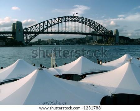 Sydney harbor at dusk - stock photo