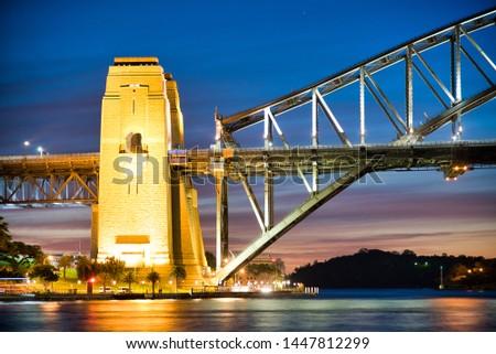 Sydney Harbor Bridge at night, Australia.