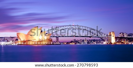 stock photo sydney harbour at dusk 270798593 - Каталог — Фотообои «Мосты»
